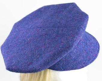 Donegal Tweed Wool Newsboy Cap | Baker Boys Retro 20s Style with 8-Darts | Wool Flat Cap | Irish Tweed Ivy Cap | Blue Purple Wool Hat