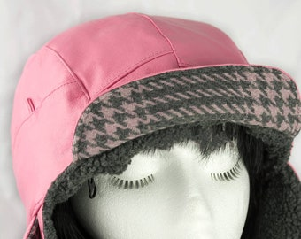 Pink Leather Biker Hat | Bomber Aviator Lumberjack Earflaps | Pink & Gray Cycling Hat | Pink Motorcycle Gift | Pink Leather Trapper Hat XXL