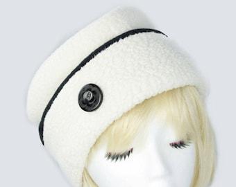 Warm Winter Beanie | White Fleece Cuffed Beanie | White Winter Hat in Bulky Fleece | White Button Hat | Winter Chemo Hat | Chunky Fleece Hat