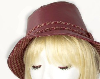 Leather Fedora | Brimmed Leather Hat Maroon Dark Red | Custom Fedora Mens Womens Fedora Genuine Leather | Maroon Leather Hat