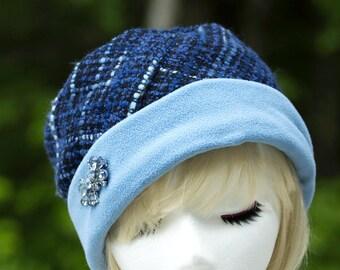 Blue Plaid Wool Pillbox Hat | Rolled Cuff Brim Fleece Lined | Winter Wool Brimmed Cloche for Women | Hat with Vintage Rhinestone Pin