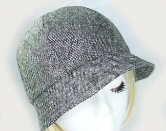 Black White Tweed Hat | Gray Bucket Hat | Wool Silk 6 Panel Hat with Short Brim | Womens Tweed Cloche Hat | Vintage Style Tweed Walking Hat