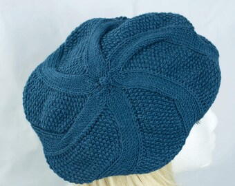 Womens Blue Cable Knit Beret Tam | Blue Green Wool Alpaca Hand Knit  Winter Beret Hat | Peruvian Wool Apaca | Twisted Spiral Cable Design