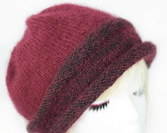 Maroon Mohair Wool Beanie | Hand Knit Burgundy Beanie with Rolled Brim | Warm Mohair & Silk Beanie | Soft Knitted Winter Hat | Simple Beanie
