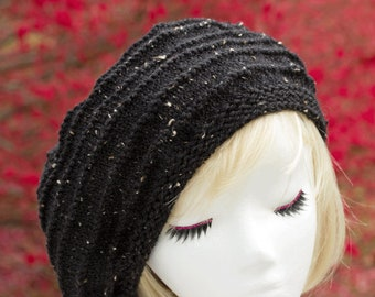 Womens Black Tweed Knit Beret Tam | Hand Knit Light Weight Beret Hat | Slouchy Beanie | Garter Stitch Accent