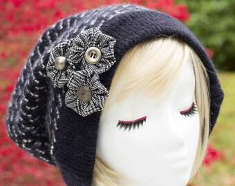 Slouchy Beanie | Super Slouchy Sweater Hat | Navy Blue Bulky Knit Beanie | Warm Winter Beanie | Blue Tam | Button Hat Eco Fashion XXL