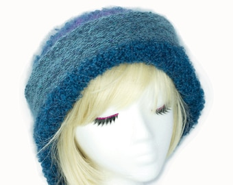 Blue Mohair Wool Beanie | Hand Knit Teal Blue Beanie with Rolled Cuff Brim | Warm Slouchy Beanie | Soft Knitted Beret Fall Hat Size Large