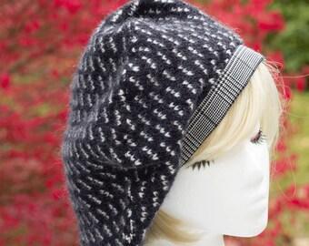 Slouchy Tam | Super Slouchy Sweater Knit Beret Hat | Navy Blue Bulky Knit | Warm Winter Tam Blue Bulky Knit Eco Fashion Dreadlock Hat Medium