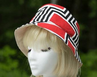 Summer Hat for Women | Reversible Bucket Hat | Red/Black and Off-White Cotton Bucket Hat | Crushable Sun Hat | Beach Garden Summer