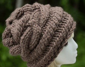 Taupe Messy Bun Chunky Cable Knit Slouchy Beanie | Merino Wool Beanie | Oversize Baggy Beanie | Handknit Boho Slouchy Bulky Knit Beanie Hat