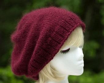 Maroon Mohair Wool Slouchy Beanie | Hand Knit Burgundy Beanie | Warm Mohair & Silk Beanie | Hipster Slouchy Hat | Soft Knitted Winter Hat |