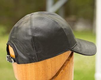 Leather Baseball Cap | Black Leather Strapback Cap | Lined 6 Panel Hat | Black Billed Cap | Genuine Leather Hat