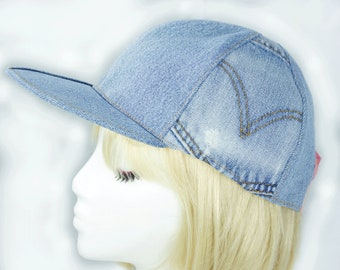Womens Baseball Cap in Washed Denim | Light Blue Denim Snapback Cap | Upcycled LEVI Denim Jeans Hat | Blue Chambray Hat | Pink Plaid Lined