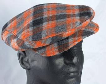 Mens Flat Cap in Orange Grey Plaid Wool | Driving Cap Touring  Cap | 1920s Wool Plaid Hat | Black Grey & Orange Retro Classic Car Driver Cap