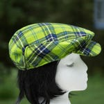 Emerald Green Tartan Plaid Flat Cap | Drivers Cap Green Plaid Wool | Winter Driving Cap | Ivy Touring Cap Clan Tartan | Scottish Golf Hat