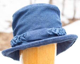 Dark Blue Hat with Cuff Brim SmartWool Brim Beanie Style Cloche Women/'s Blue Cloche Hat Warm Winter Beanie w Roll Up Brim Church Hat