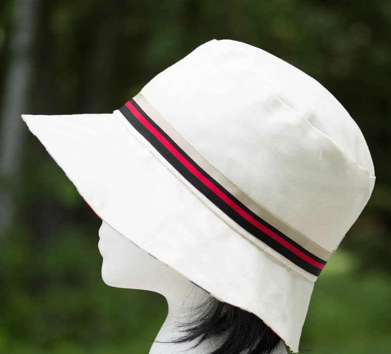Womens Summer Hat  Reversible Sun Hat  Off-White and Black image 0