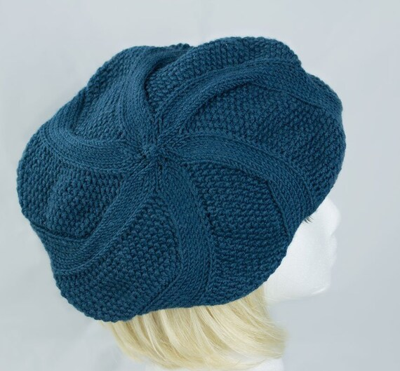 Frauen stricken Tam Blaue Zopfmuster Mütze Grüne wolle   Etsy
