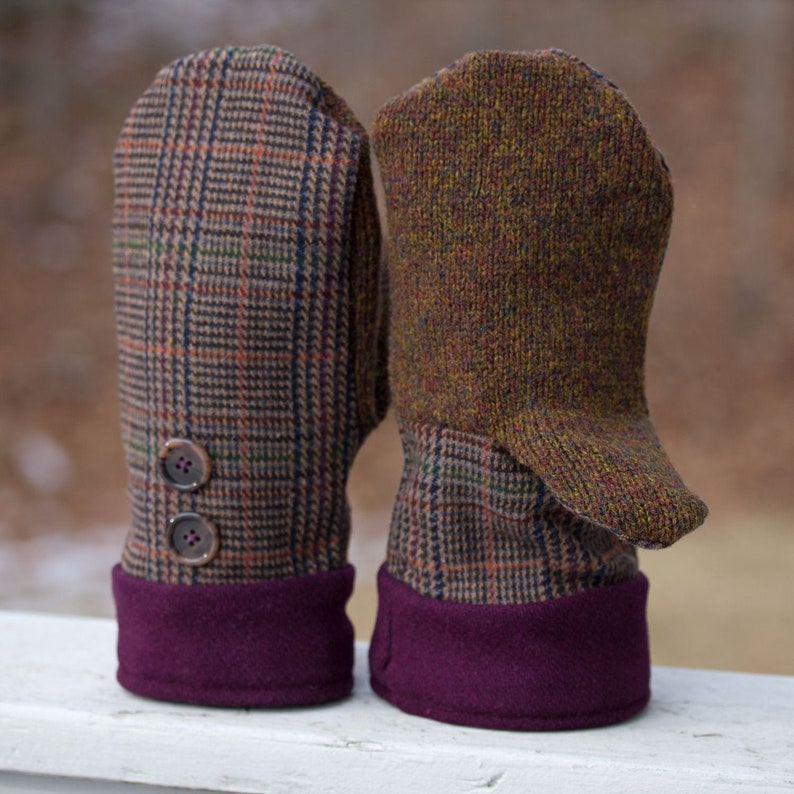Upcycled Wool Mittens in Browns and Cranberry Plaid  Winter image 0