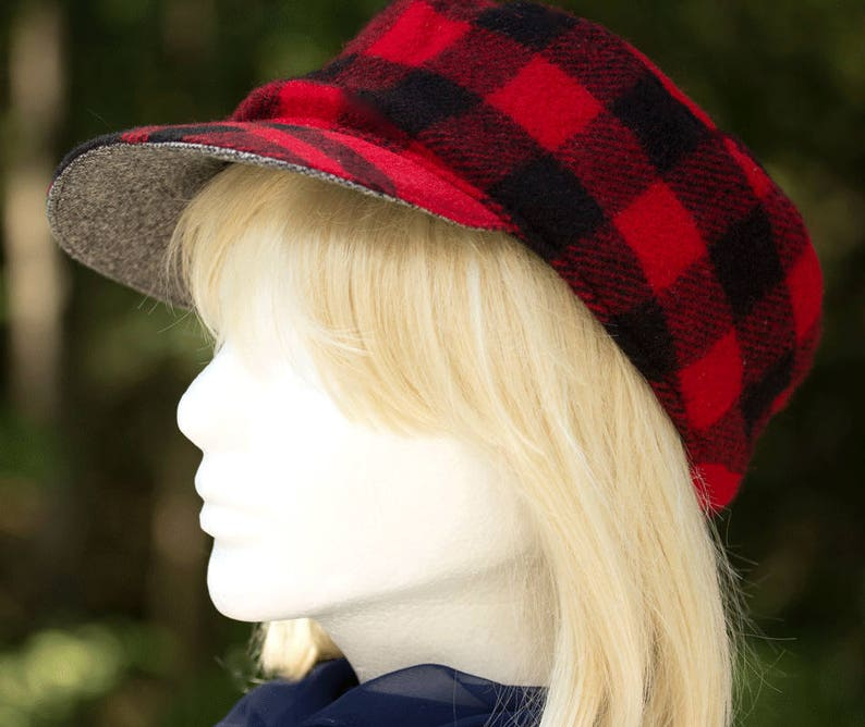 Womens Winter Hat Red   Black Wool Plaid Baseball Style Cadet ... 85c2c2574dc7