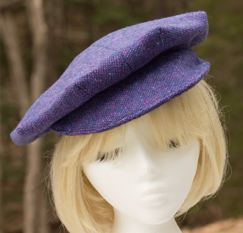67da5c24dcfc5 Wool Newsboy Cap Purple Women s Donegal Tweed Baker Boys