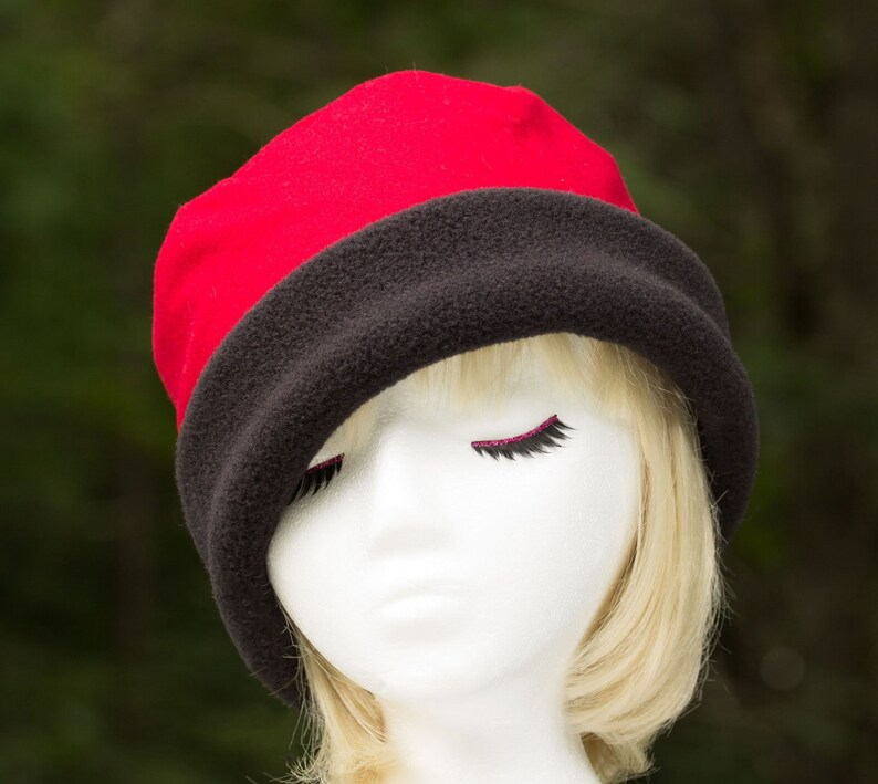 Red Cloche Hat with Black Cuffed Brim  Womens Red Wool image 0