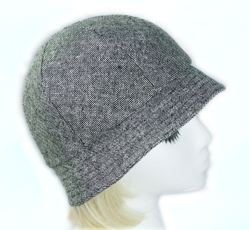 7b8664d45a7 Black White Tweed Hat Gray Bucket Hat Wool Silk 6 Panel