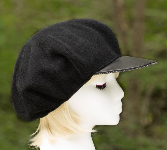 3d5b72a9cd1 Womens Newsboy Cap Black Wool Visor Hat Black Slouchy Flat