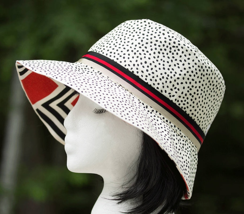 Reversible Cotton Summer Hat Abstract Red Black & White and image 0