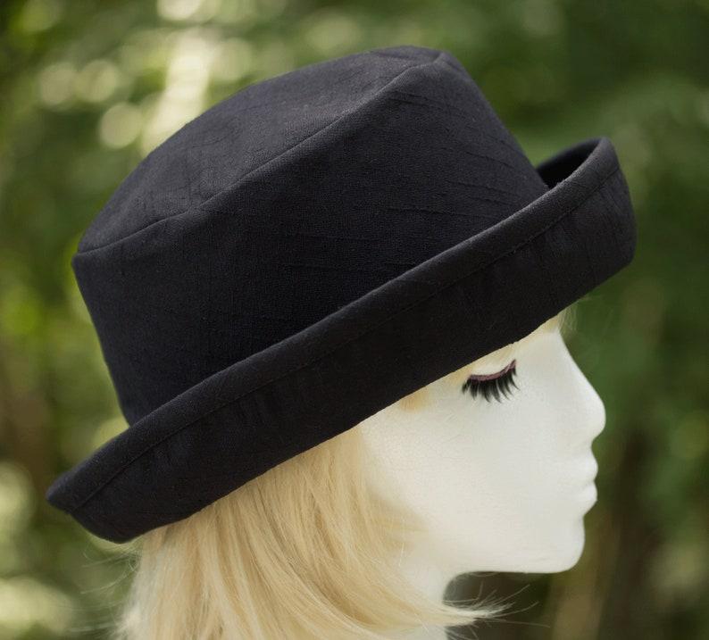 Womens Upturned Brim Hat  Black or Navy Blue Linen Weave Black Linen