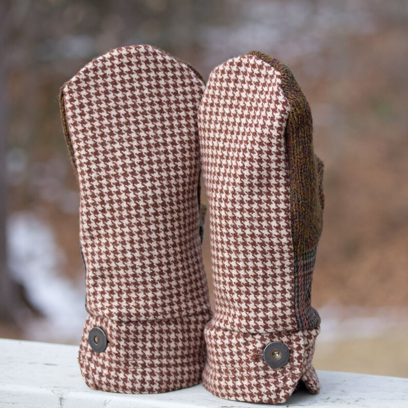 Upcycled Wool Mittens  Brown Cream Houndstooth Plaid Wool image 0