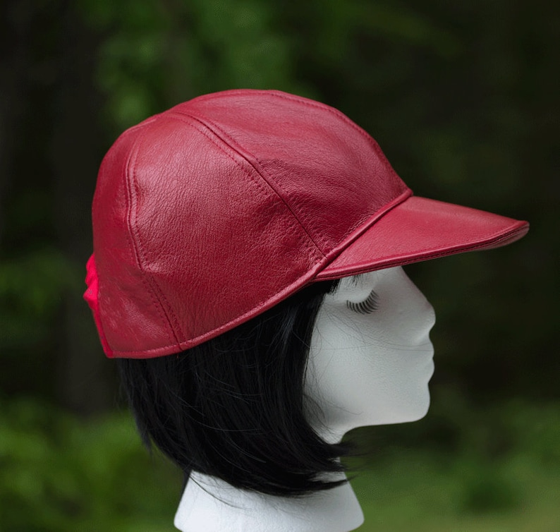 Leather Baseball Cap  Women's Strapback  6-Panel Hat  Red