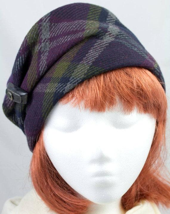 Plaid di lana Womens Pillbox Hat viola grigio e verde  c826ff7b4b2a