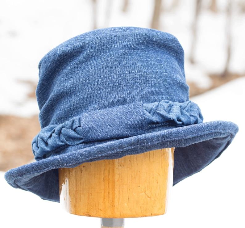 Womens Denim Hat with Curled Brim  Upturned Rolled Brim  image 0