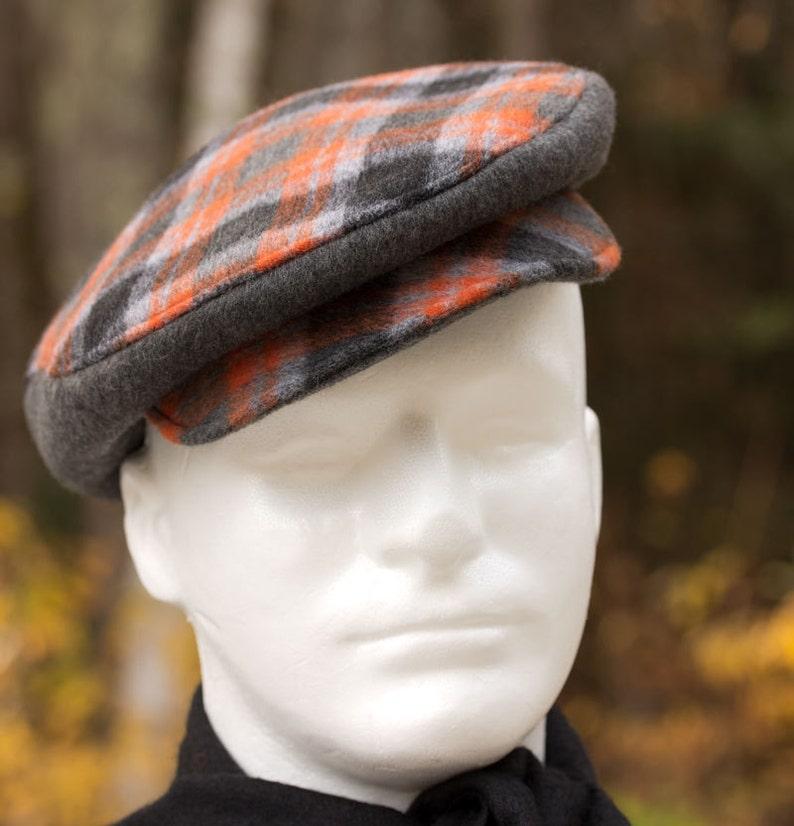 e2e3048ea3c Mens Driving cap Flat Cap Orange Gray Black Wool Plaid