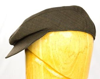 Mens Summer Flat Cap in Summer-Weight Wool Herringbone in Black or Brown   Drivers, Gatsby, Baker Boys Hat   Tweed Ivy, Cabbie, Scally Cap