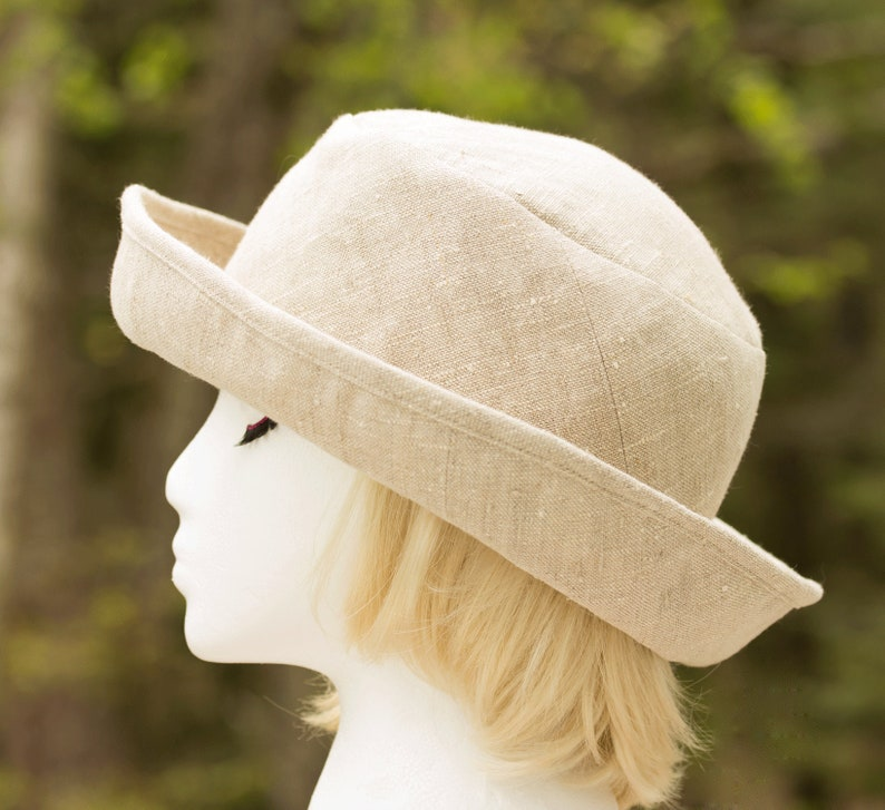 Women Linen Summer Hat Curled Brim  Off White Upturned Roll Off-White Linen