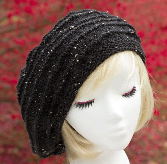 Womens Black Tweed Knit Beret Tam Hand Knit Light Weight Etsy