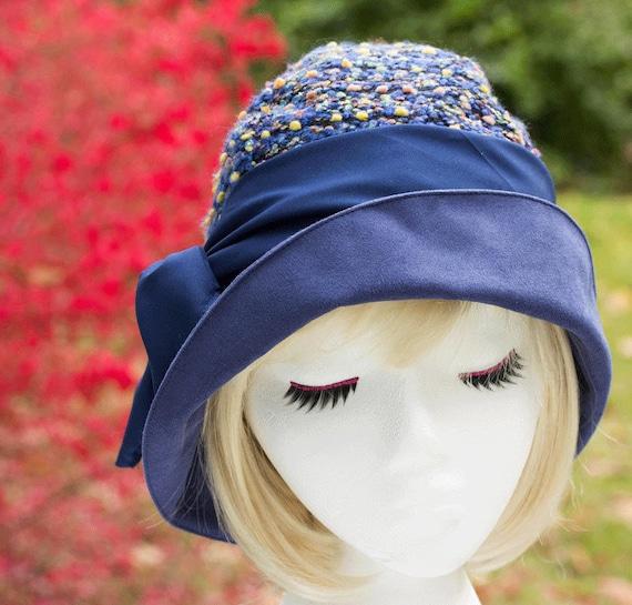 31956d7a9cf Blue Cloche Hat Dark Blue Confetti Boucle Wool Wide Brim in