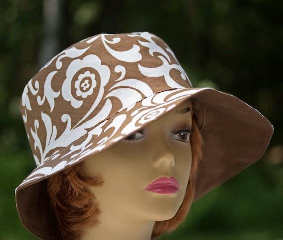 7fec5dd1d92 Womens Summer Hat Brown   Cream Sun Hat Cotton Bucket Hat
