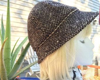 Brown Wool Hat | Winter Cloche Bucket Hat | Womens Wool Cloche | Retro Cloche | Brown Tweed Wool Downton Abbey Hat | Warm Wool Winter Hat