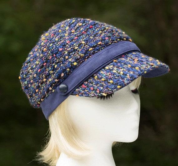Womens Blue Newsboy Cap Wool Visor Hat Billed Beanie Hat  bb7596a571