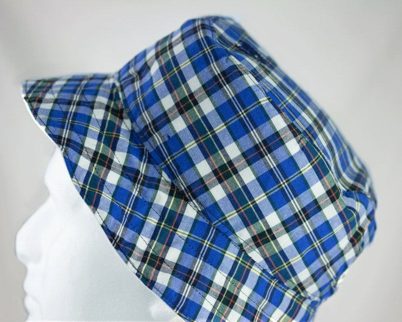 de440dc0c4d Mens Bucket Hat White Cotton Reversible Plaid Custom