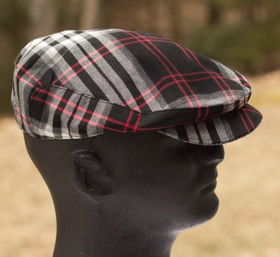 ba2016dbe Plaid Flat Cap | Driving Cap in Tartan Plaid--Black White Red Tartan--Ivy  Cap Wool Touring Cap l Scally Cap | Wool Plaid Drivers Cap