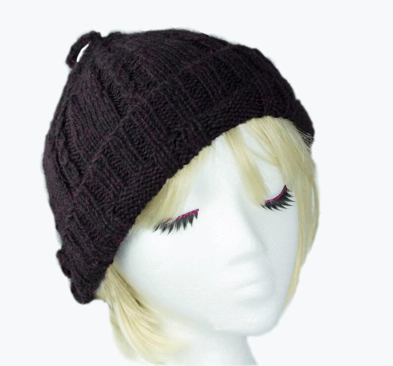 Knitted Beanie Purple Slouchy Hat in Dark Plum Baby Alpaca image 0