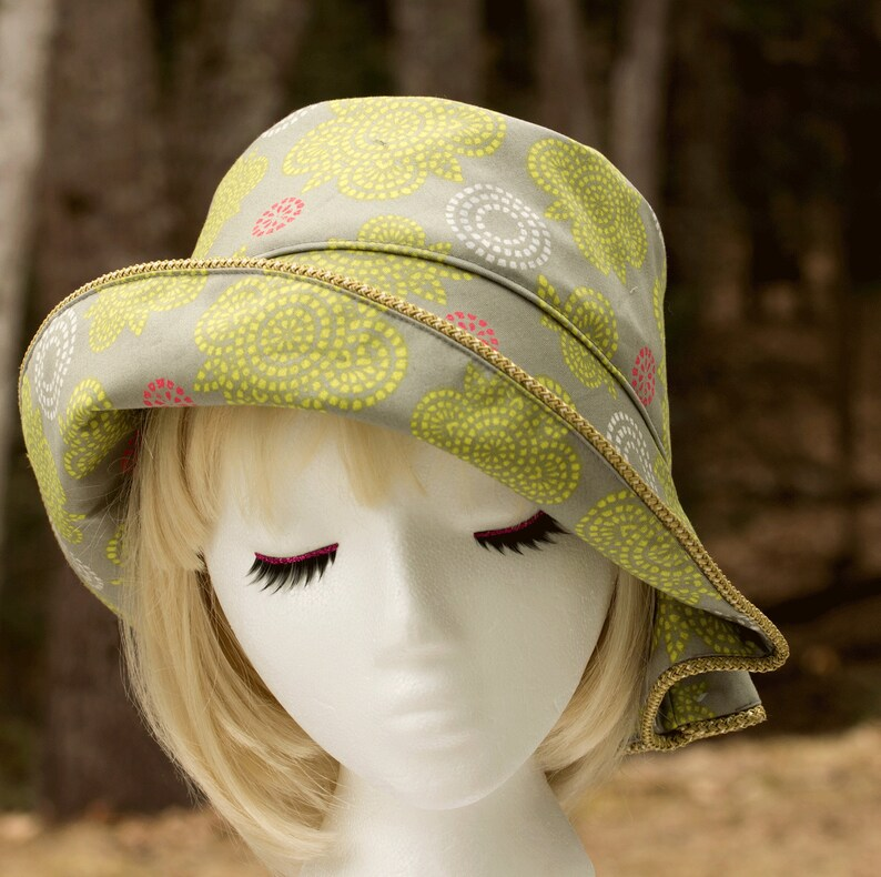 Women's Summer Hat Light Green Floral Cotton Cloche with image 0