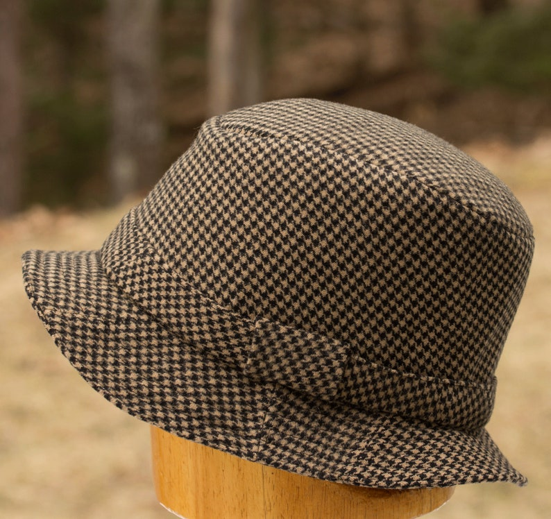 Brown Wool Fedora  Black and Cream Hounds Tooth Plaid Wool image 0