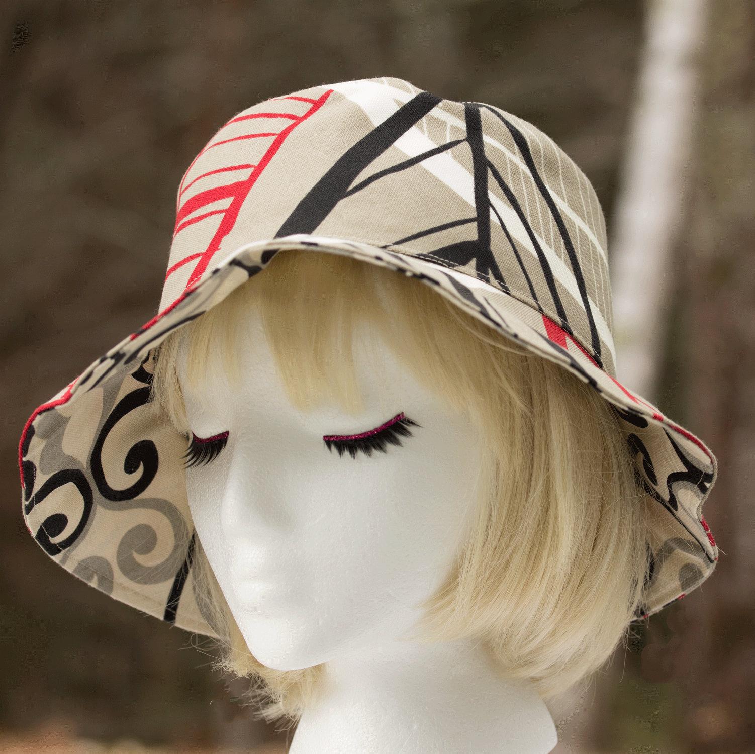 f0edeee9 Summer Hat Brim Cotton Sun Hat Reversible Beige Black Red   Etsy