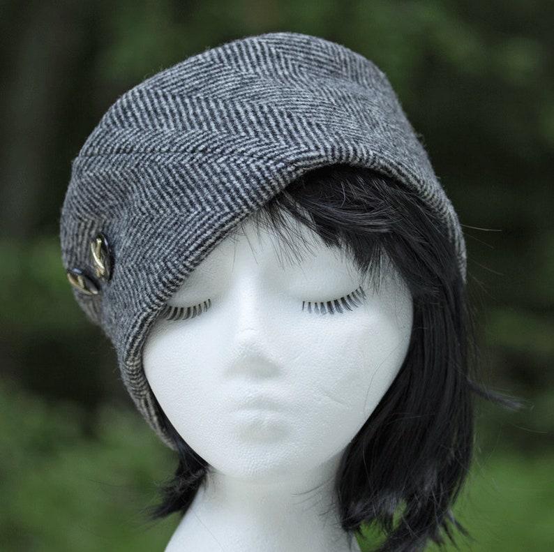 Women's Winter Hat in Herringbone Wool  Black & White image 0