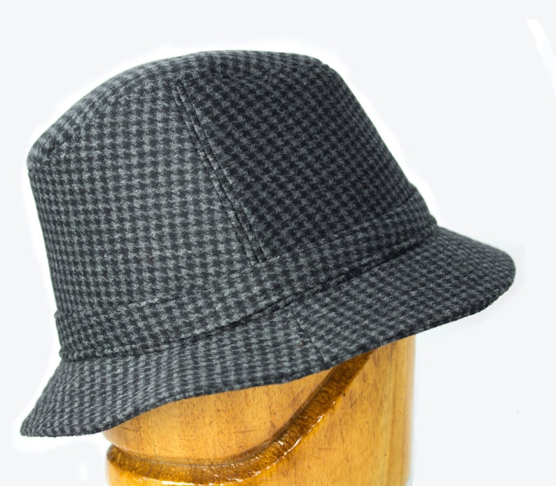 Dr. Henry Jones Sr. Fedora Houndstooth Wool Tweed English black gray 32-634a